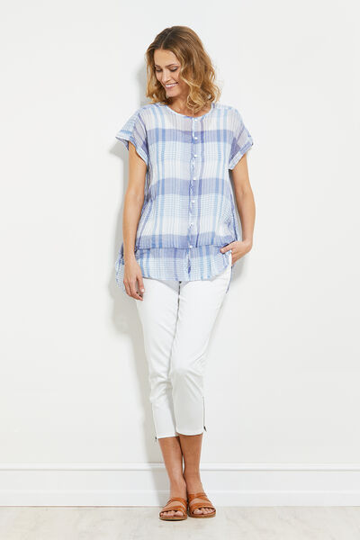 IDEM BLOUSE, BLUE, hi-res